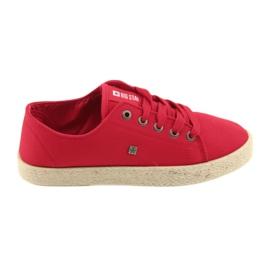 Balerinki espadryle buty damskie czerwone Big star 274424