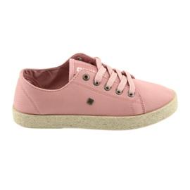 Balerinki espadryle buty damskie różowe Big star 274425