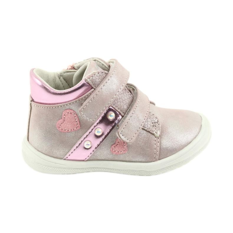 American Club ADI sportowe buty dziecięce w serduszka American szare różowe