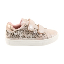 American Club ADI sportowe buty dziecięce w kwiaty American szare różowe
