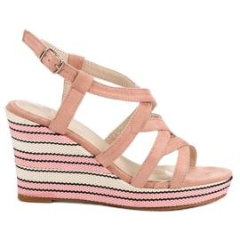 Kerline różowe Modne Sandały Na Koturnie