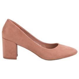 Ideal Shoes Pudrowe Czółenka Na Słupku różowe