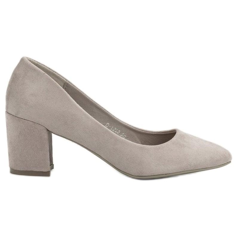 Ideal Shoes Szare Czółenka Na Słupku