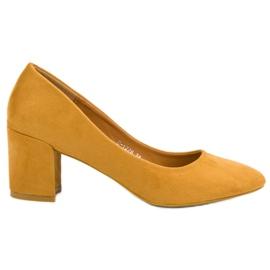 Ideal Shoes Musztardowe Czółenka Na Słupku żółte