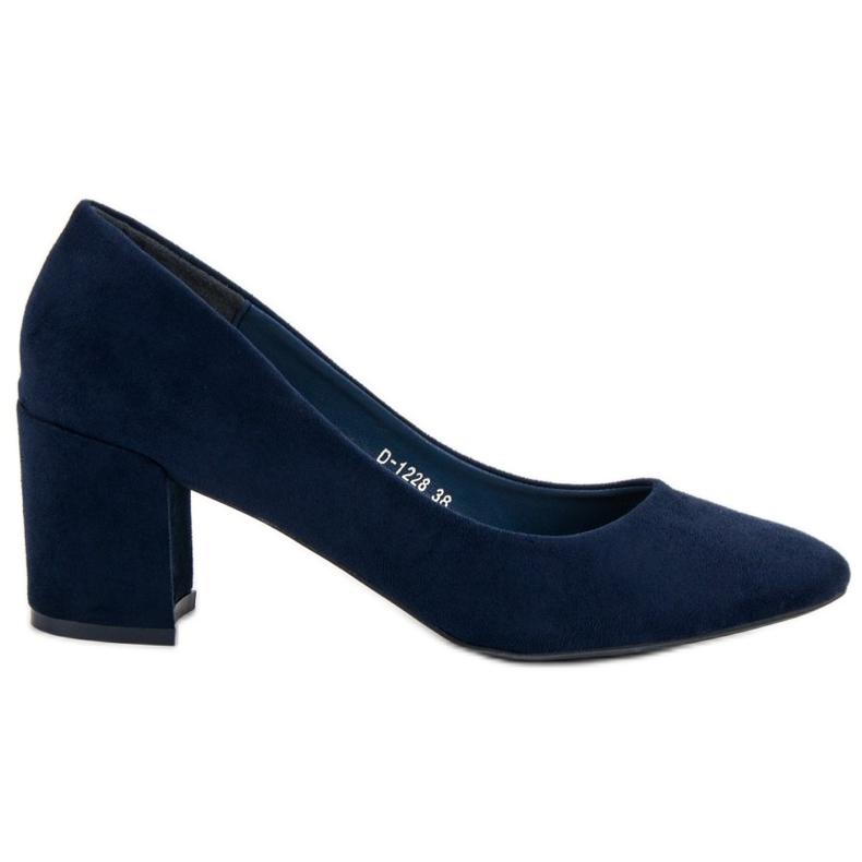Ideal Shoes Granatowe Czółenka Na Słupku niebieskie