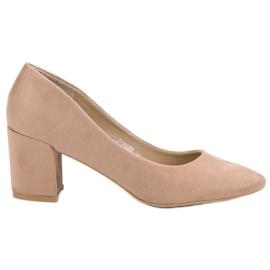 Ideal Shoes Beżowe Czółenka Na Słupku beżowy