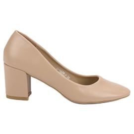 Ideal Shoes brązowe Klasyczne Beżowe Czółenka