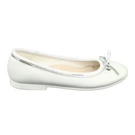 Balerinki z kokardą biała perła American Club GC29/19 białe wielokolorowe