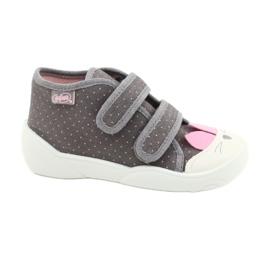 Befado obuwie dziecięce 212P059 szare różowe