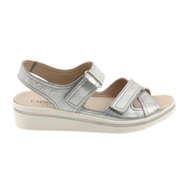 Szare Caprice sandały buty damskie skórzane srebrne