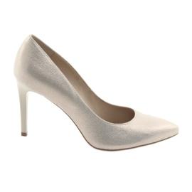 Żółte Czółenka buty damskie skórzane złote Anis 4527