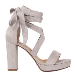 Sandałki na platformie szare NC805 Grey