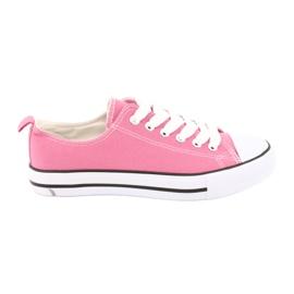 Trampki wiązane różowe buty damskie American Club