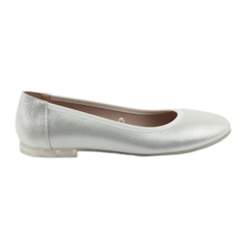 Szare Baleriny buty damskie srebrne Sergio Leone 607