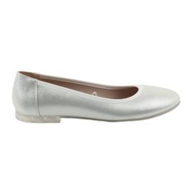 Szare Baleriny buty damskie srebrne Sergio Leone BL607
