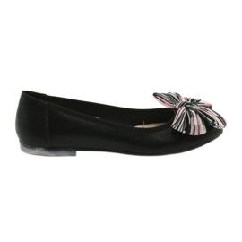 Baleriny buty damskie z kokardą Sergio Leone 605 czarne