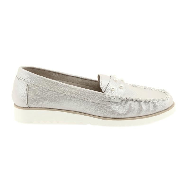 Sergio Leone Mokasyny buty damskie beż perła beżowy