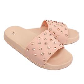 Klapki z kamieniami różowe CK67P Pink