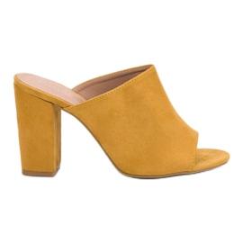 Laura Mode żółte Zamszowe Klapki Na Słupku