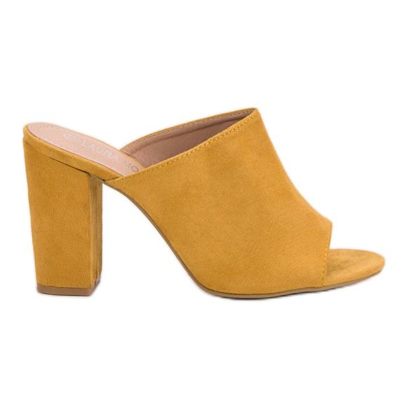 Laura Mode Zamszowe Klapki Na Słupku żółte
