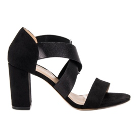Super Mode Czarne Sandały Na Obcasie