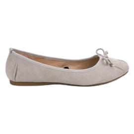 Lucky Shoes Szare Wiązane Baleriny
