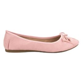 Lucky Shoes Różowe Wiązane Baleriny