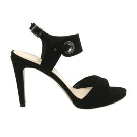 Sandały skórzane na szpilce Edeo 3208 czarne