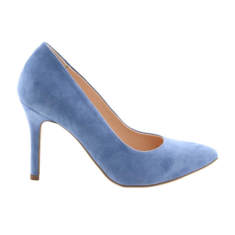 Czółenka na szpilce buty damskie Edeo 3313 niebieski niebieskie