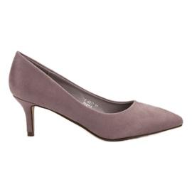Ideal Shoes fioletowe Wygodne Czółenka Na Szpilce