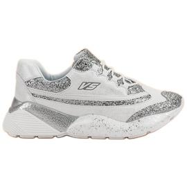 Białe Buty Sportowe Z Brokatem VICES