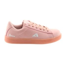 Buty sportowe American Club BS07 wkładka skórzana różowe