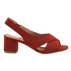 Kylie Zamszowe Czerwone Sandały