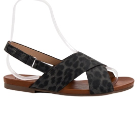 Kylie czarne Sandały W Cętki