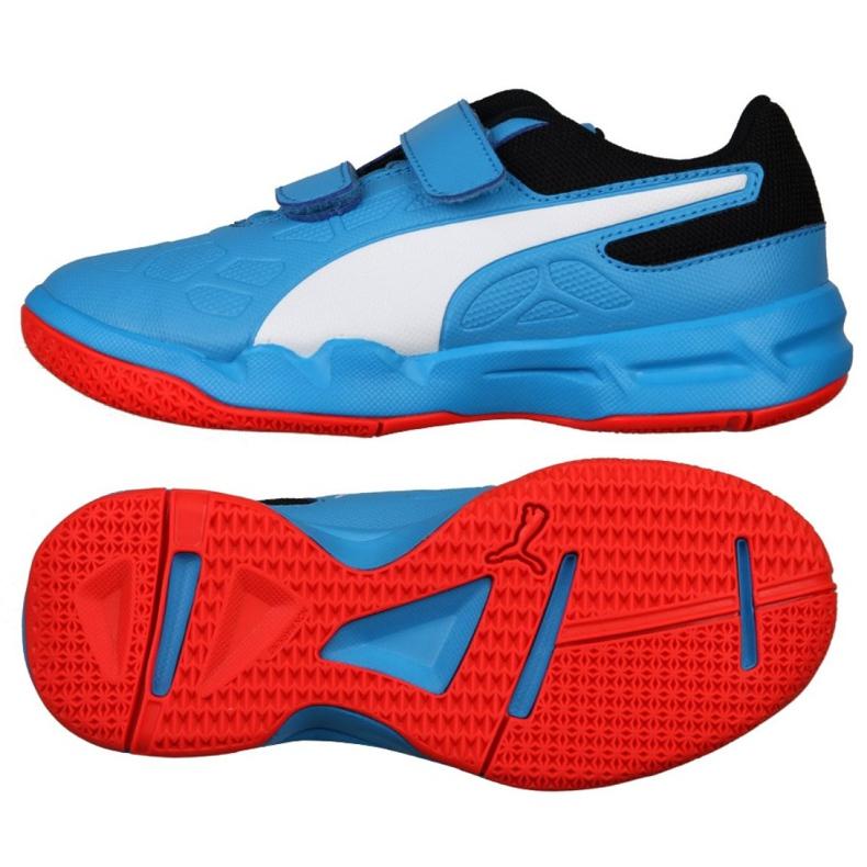 Buty halowe Puma Tenaz V Jr Bleu Azur 104891 06 niebieskie niebieski