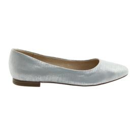 Balerinki czółenka damskie Caprice 22104 srebrny błękit
