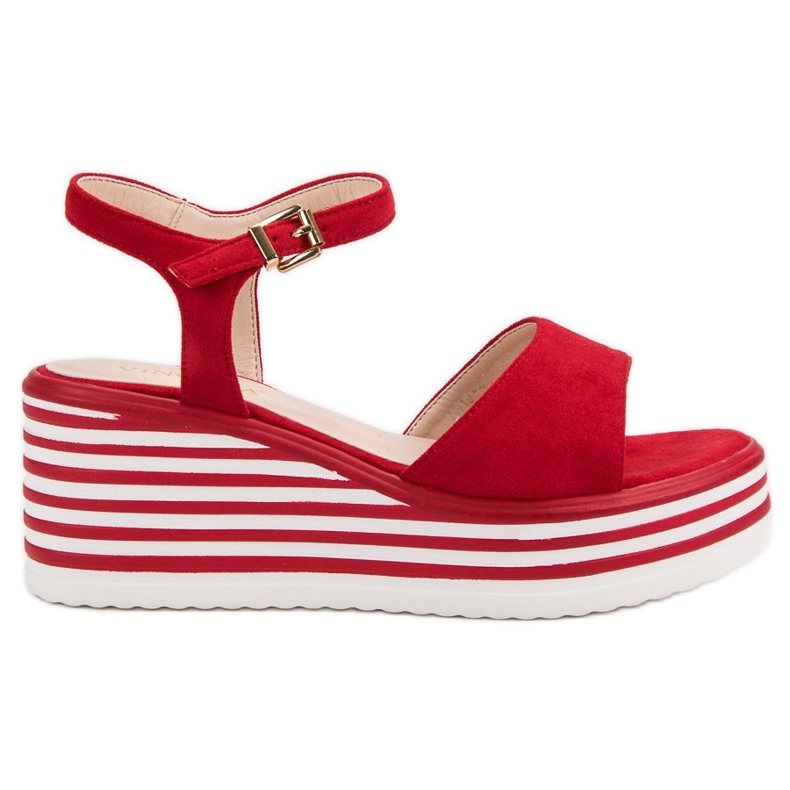 Vinceza Wygodne Sandały Na Koturnie czerwone