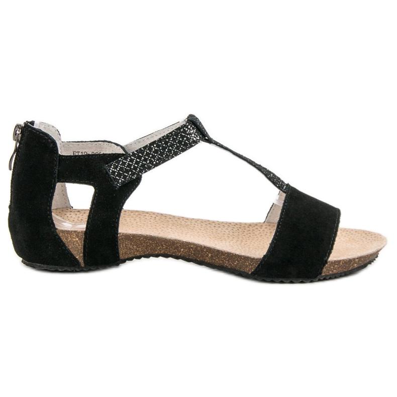 Skórzane Sandały VINCEZA czarne