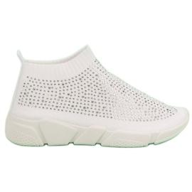 Białe Tekstylne Buty Sportowe Z Kryształkami