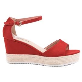 Seastar Czerwone Sandały Na Koturnie