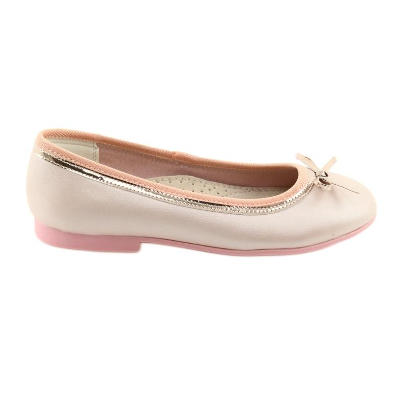 Balerinki z kokardą różowa perła American Club GC14/19