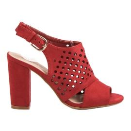 Seastar czerwone Ażurowe Zabudowane Sandały