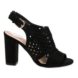 Seastar czarne Ażurowe Zabudowane Sandały