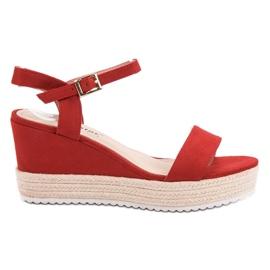 Seastar czerwone Wygodne Sandały Na Koturnie