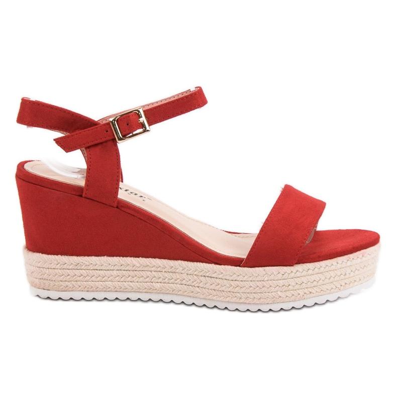 Seastar Wygodne Sandały Na Koturnie czerwone