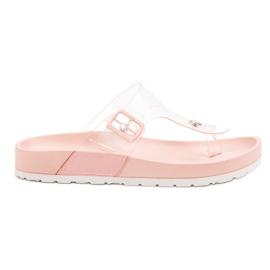 Seastar Transparentne Klapki Japonki różowe
