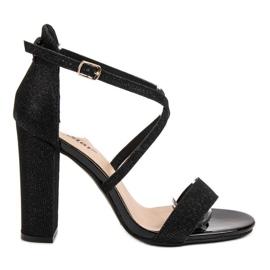 Seastar czarne Eleganckie Sandałki Z Brokatem