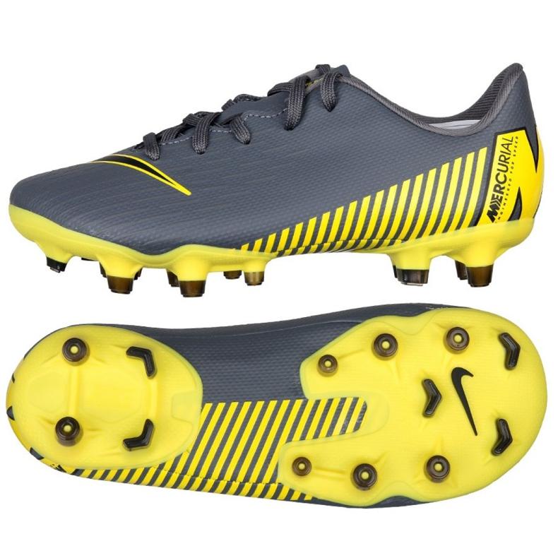 Buty piłkarskie Nike Mercurial Vapor 12 Academy Ps FG/MG Jr AH7349-070 szare czarne