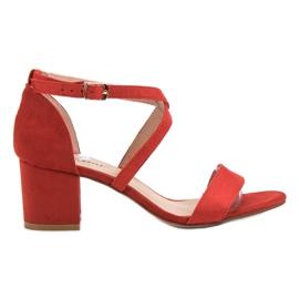 Seastar czerwone Zamszowe Sandały Na Słupku