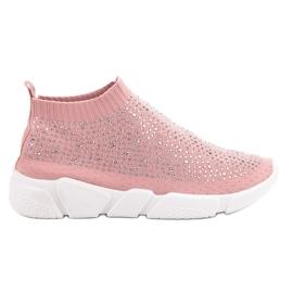 Różowe Tekstylne Buty Sportowe Z Kryształkami